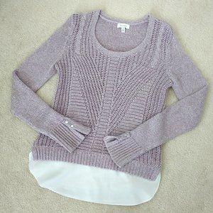 CALVIN KLEIN Layered Knit Sweater Sz XS-Lilac